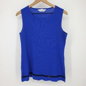 Exclusively Misook Blue Shell Ribbed Tank Top Med